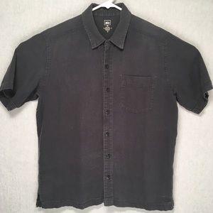 REI mens button up short sleeve hemp cotton shirt